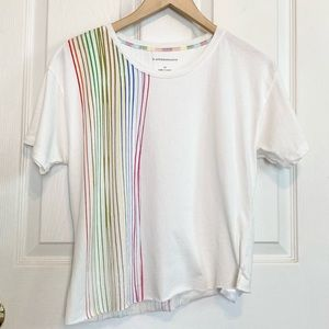 Anthropologie Ivory Rainbow Stripes Raw Hem Shirt